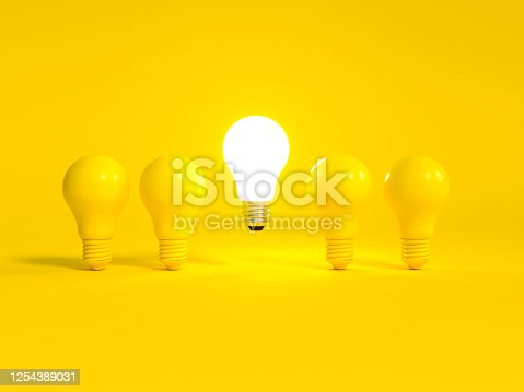 Realistic light bulb 3d rendering. Turned off and glowing lamps on yellow background. Creative idea and innovation lightbulb 3d business and electricity interior lights decorations minimal concept.
