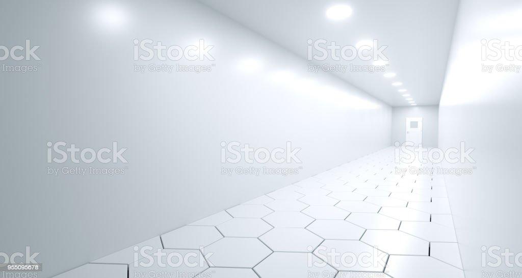 Realistic Long Corridor With Hexagon Floor And Door. 3D Rendering stock photo