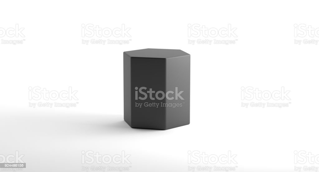Realistic Looking Geometric Hexagonal Cylinder Object stock photo