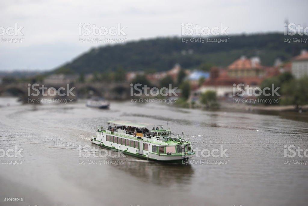 Realistic Miniaturized Model of Boat stock photo
