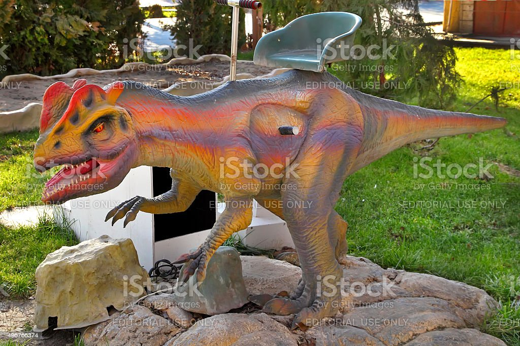 Realistic model of  Dinosaur in the central park stock photo