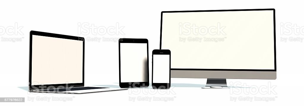 realistic Monitor laptop tablet and phone set isolated on white – Foto