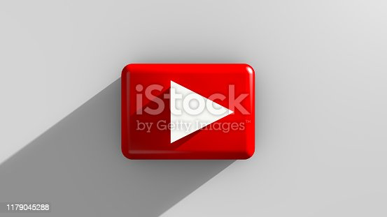 istock Realistic of shiny red play video and TV button 1179045288