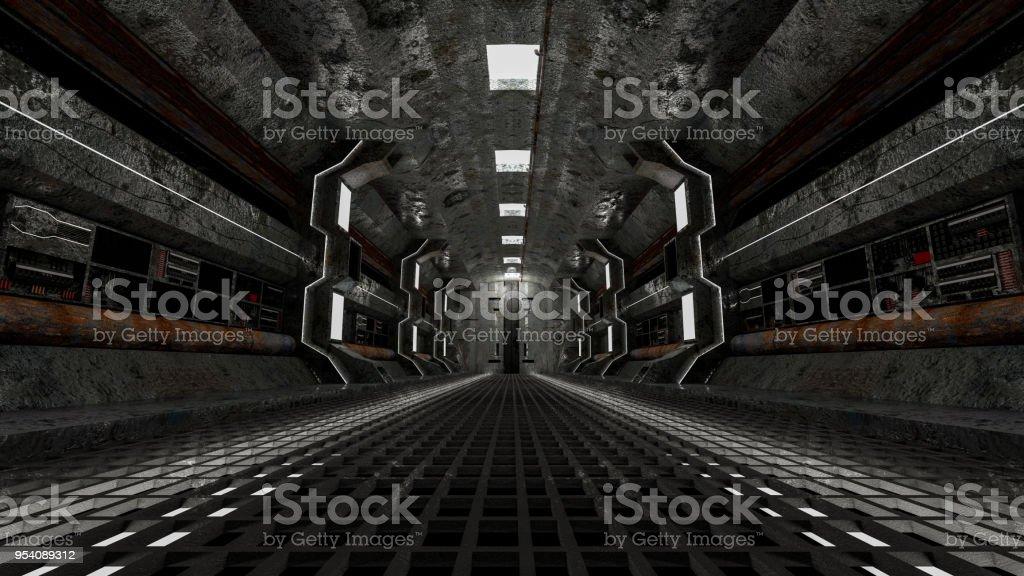 realistic old spaceship sci-fi corridor stock photo