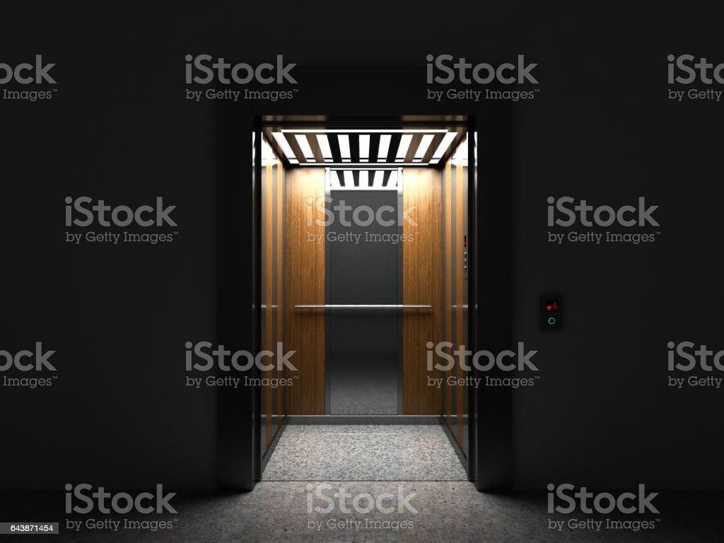 Realistische offene leere Aufzug mit halb offenen Tür 3d Render – Foto