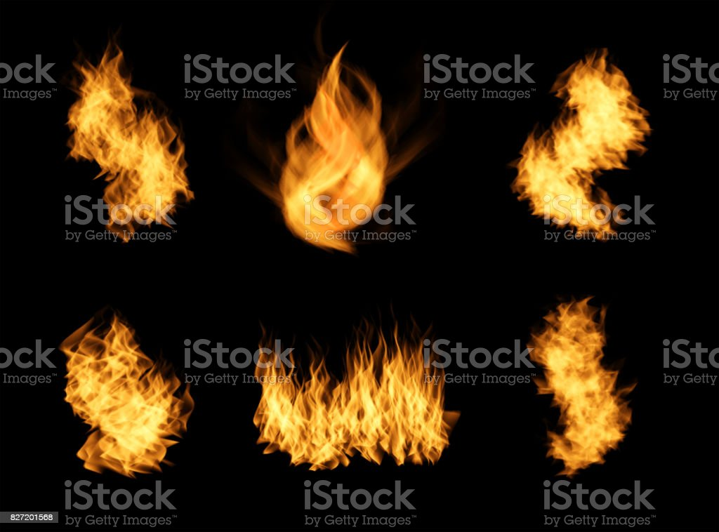 Realistic orange fire flames set. stock photo