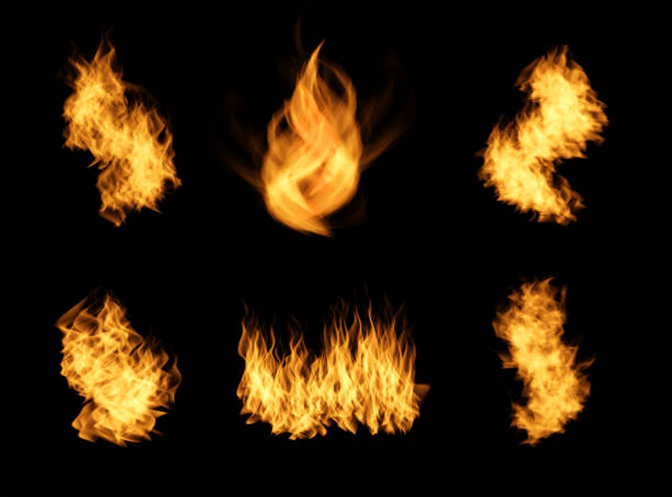 Realistic orange fire flames set. stock photo