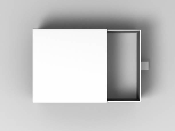 realistic package cardboard sliding box on grey background. for small items, matches, and other things. - puste pudełko zdjęcia i obrazy z banku zdjęć