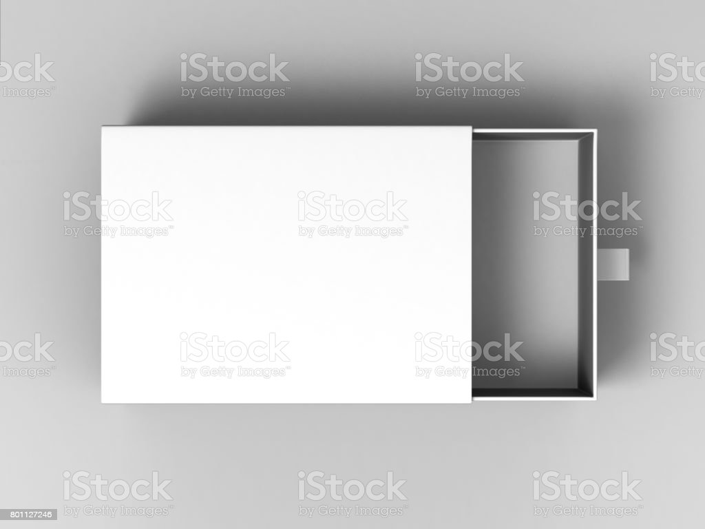 Realistic Package Cardboard Sliding Box on grey background. For small items, matches, and other things. stock photo