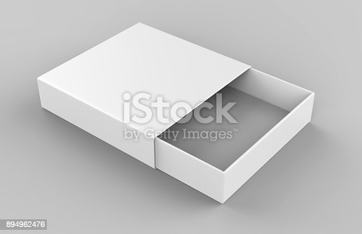 istock Realistic Package Cardboard Sliding drawer Box on grey background. For small items, matches, and other things. 3d render illustration 894962476