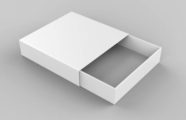 realistic package cardboard sliding drawer box on grey background. for small items, matches, and other things. 3d render illustration - puste pudełko zdjęcia i obrazy z banku zdjęć