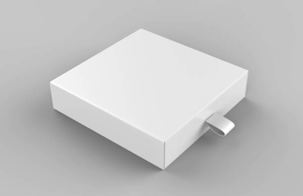 realistische paket karton gleitende schublade box mit band ziehen auf grauem hintergrund. für kleine gegenstände, spiele und andere dinge. 3d render-illustration - bandanzeige stock-fotos und bilder