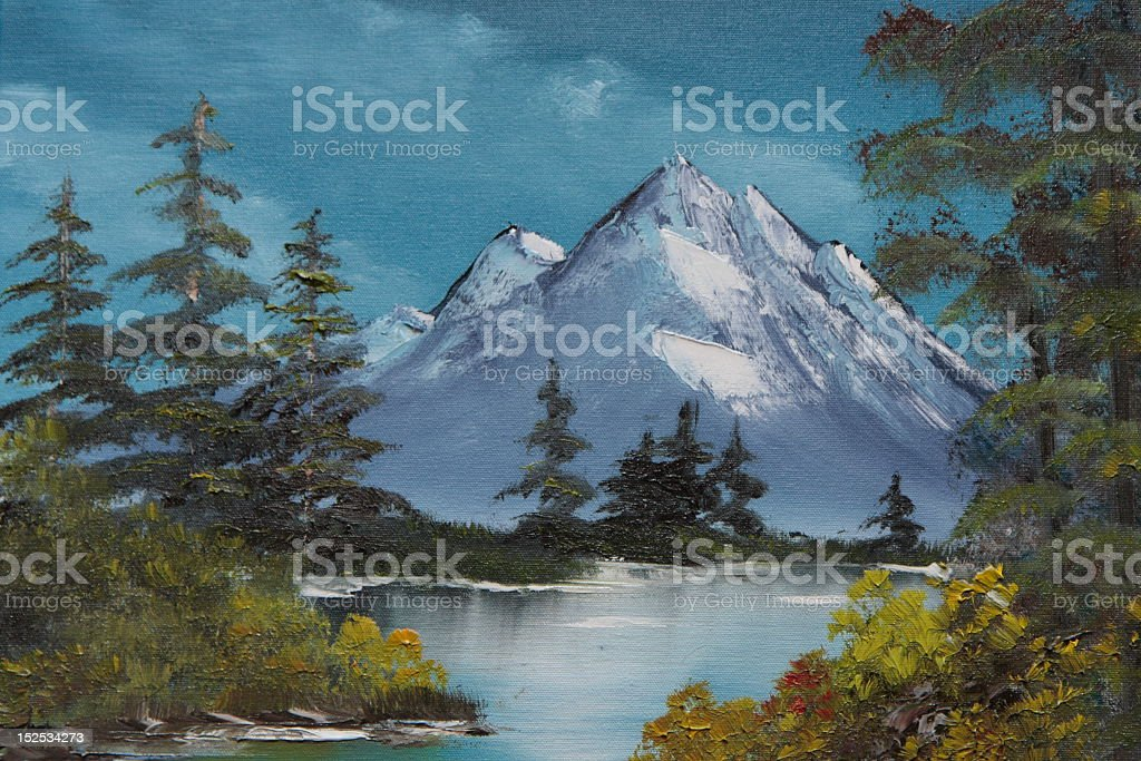Realistic painting of a Bavarian landscape stock photo