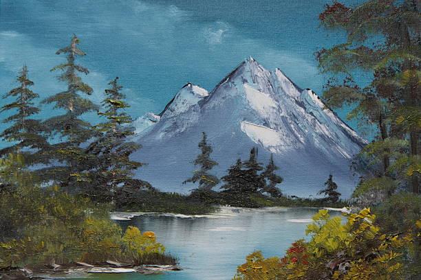 realistic painting of a bavarian landscape - yağlı boya resim stok fotoğraflar ve resimler