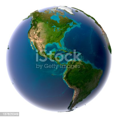 istock Realistic planet earth with natural water 137825349