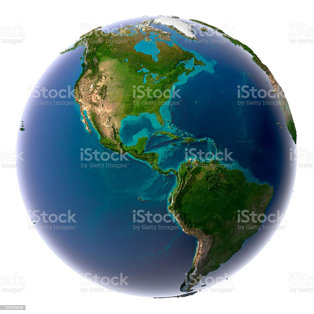 Realistic planet earth with natural water stock photo