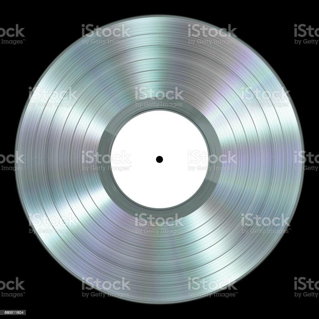 Realistic Platinum Vinyl Record On Black Background stock photo