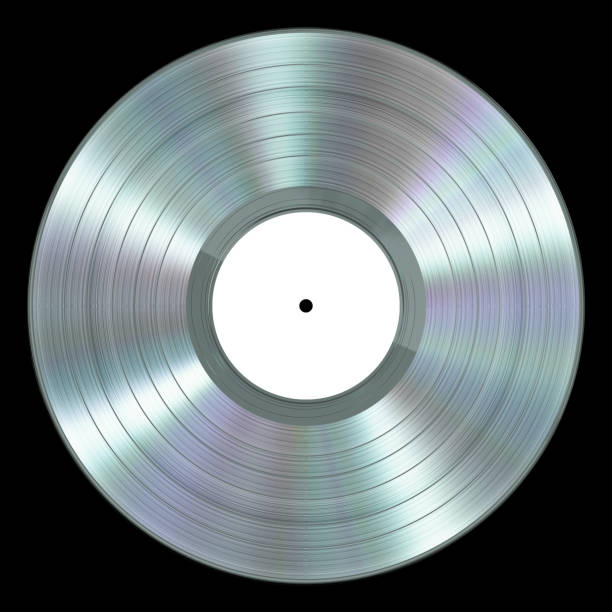 Realistic Platinum Vinyl Record On Black Background stock photo