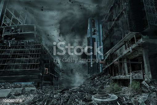 A cinematic portrayal of a city destroyed by a typhoon, hurricane or tornado twister. Concept of nature's destruction of a fictitious disaster scene. The image was created in Photoshop and composed from several photos that I took over a period of time (attached for reference)