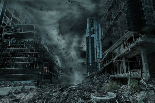realistic portrayal of a city destroyed by hurricane, typhoon or tornado twister - arruinado imagens e fotografias de stock