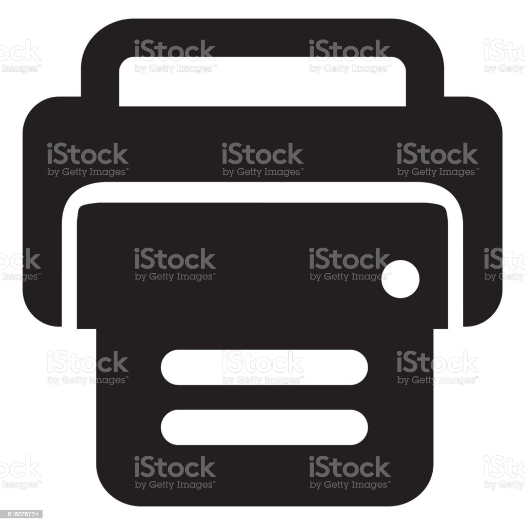 Realistic printer icon stock photo