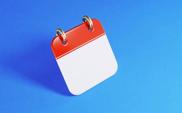 realistische rote kalender-symbol stehend auf blauem hintergrund - kalender icon stock-fotos und bilder