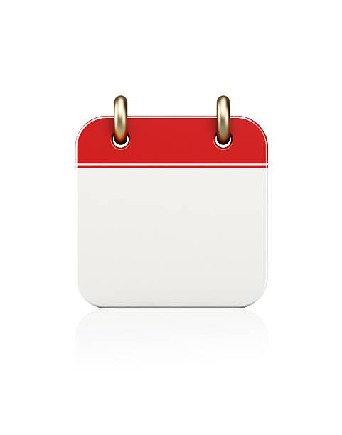 realistic red calendar icon standing on white - calendrier digital journée photos et images de collection