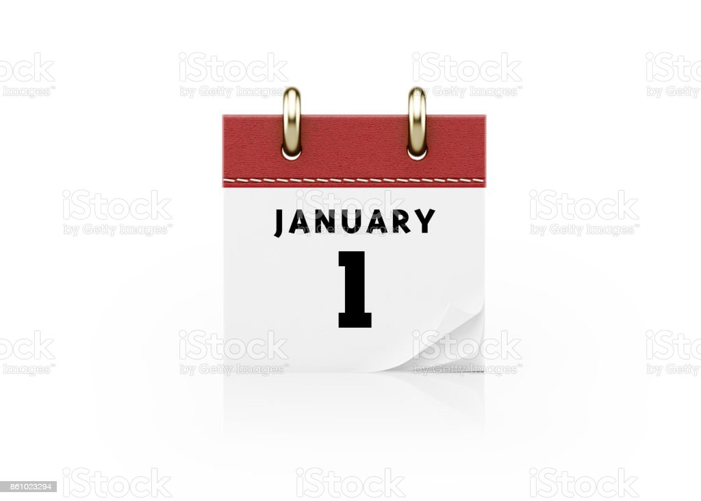 Realistic Red Calendar Standing On White Background- January 1 New Year`s Day Concept stock photo