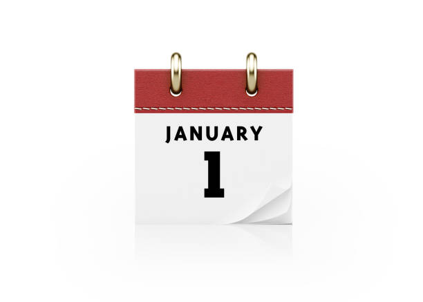 realistic red calendar standing on white background- january 1 new year`s day concept - new years day stock pictures, royalty-free photos & images