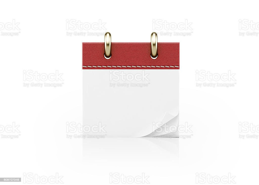 Realistic Red Calendar Standing on White - foto stock