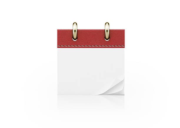 realistic red calendar standing on white - calendrier digital journée photos et images de collection