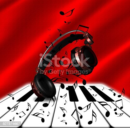 istock Realistic Red headphones with Music Notes and Piano 527374667