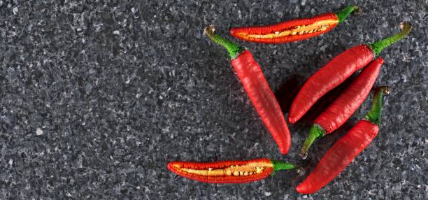 Realistic Red Hot Chilli Peppers stock photo