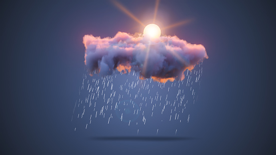 istock 3D Realistic Render of a Cloud with Mixed Sky, Rain and Sun 1191075912