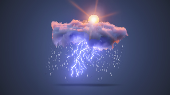 istock 3D Realistic Render of a Cloud with Mixed Sky, Rain, Sun and Thunderstorm 1191075947