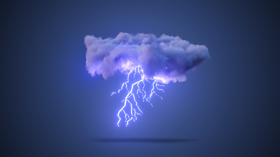 istock 3D Realistic Render of a Cloud with Thunderstorm 1191075934