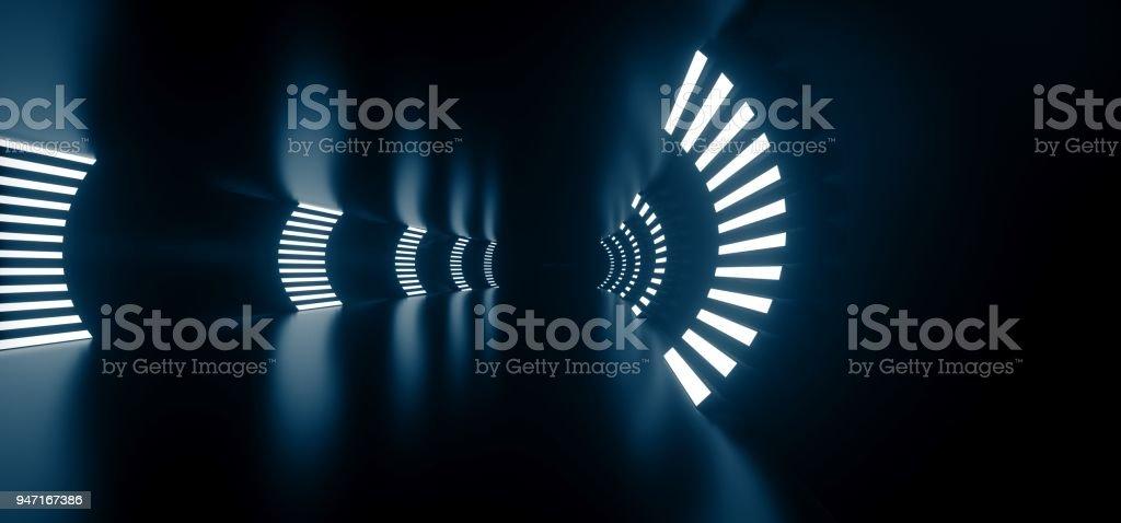 Realistic Round Sci-Fi Corridor With Lights stock photo