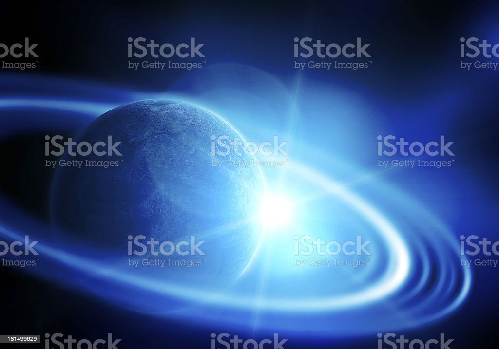 realistic saturn in open space royalty-free stock photo