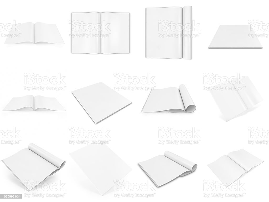 Realistic set of 3d rendering open and closed books or stock photo