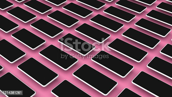 950613878 istock photo Realistic smartphones grid mockup for application and mobile website design presentation. Cellphone template. 3D rendered image. 1214381261