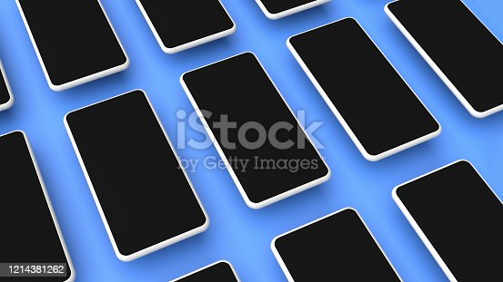 950613878 istock photo Realistic smartphones grid mockup for application and mobile website design presentation. Cellphone template. 3D rendered image. 1214381262