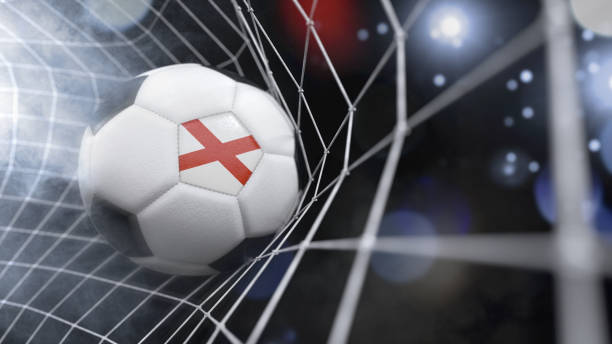 Realistic soccer ball in the net with the flag of Alabama.(3D illustration series) stock photo