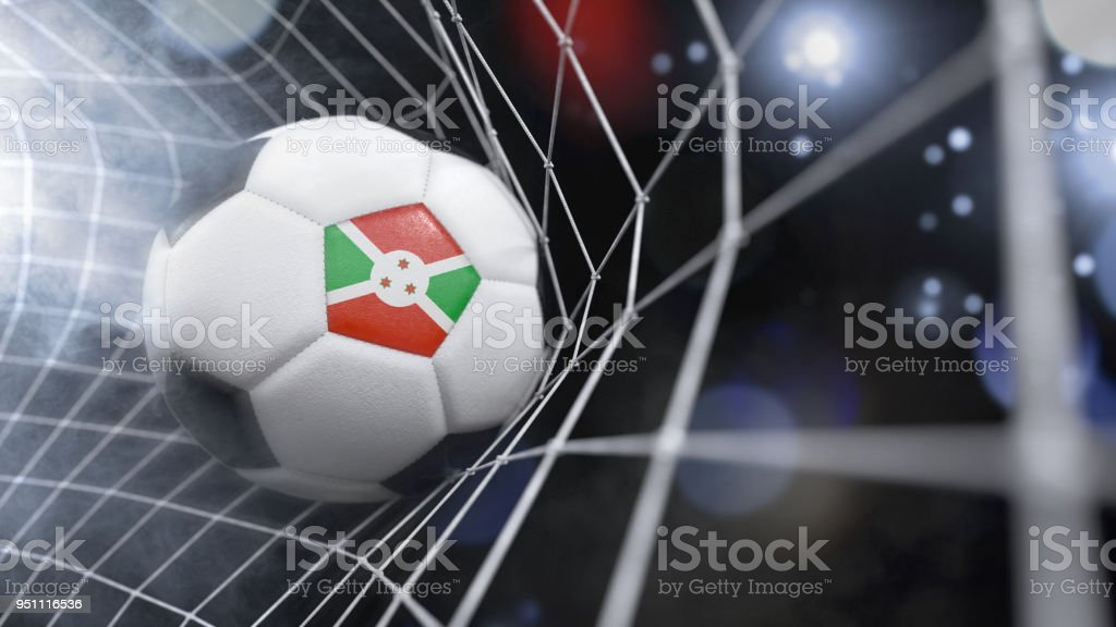 Realistic soccer ball in the net with the flag of Burundi.(3D illustration series) stock photo