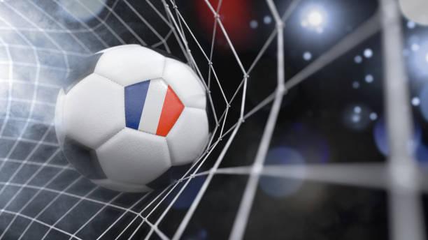 realistische fußball im netz mit der flagge von französisch-guayana. (3d illustration serie) - französisch übungen stock-fotos und bilder