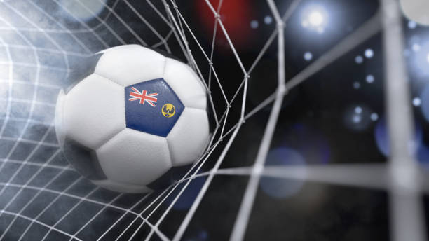 realistic soccer ball in the net with the flag of south australia.(3d illustration series) - target australia stock pictures, royalty-free photos & images