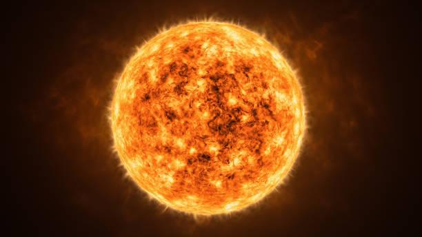 Realistic sun or star closeup 3D rendering illustration. stock photo