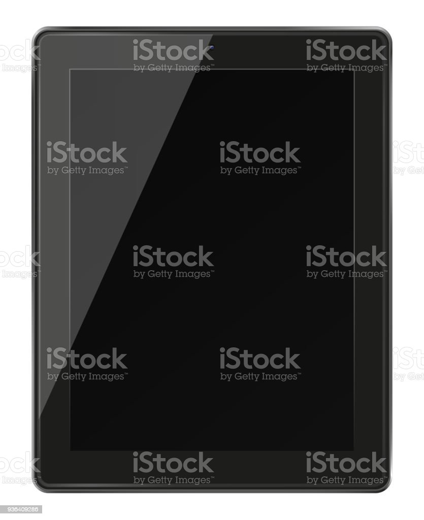 Realistic tablet pc computer with black screen. stock photo