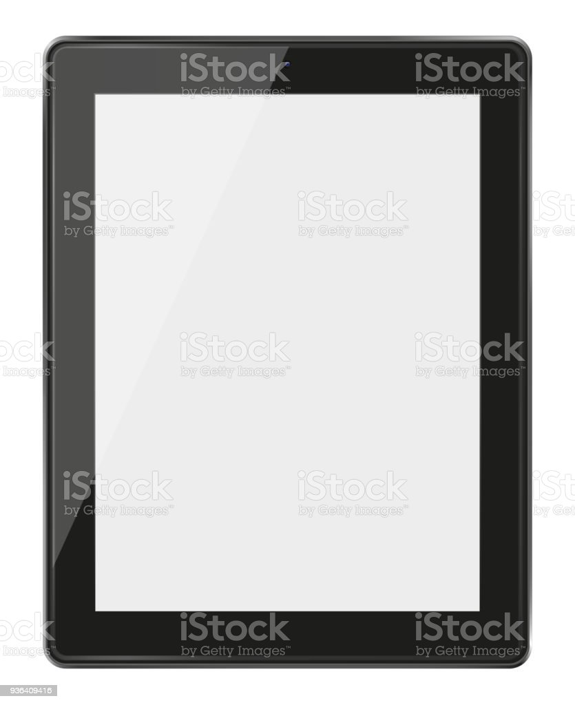 Realistic tablet pc computer with blank screen. stock photo