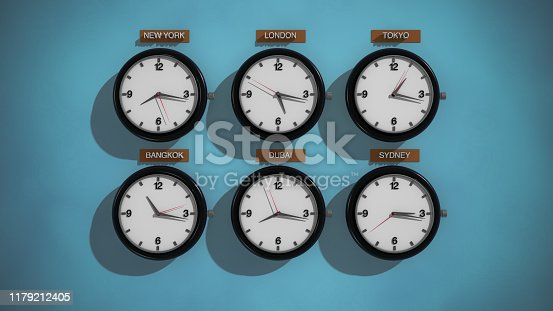 3D Rendering,Realistic vintage clock on the blue green wall background, time zone concept design.