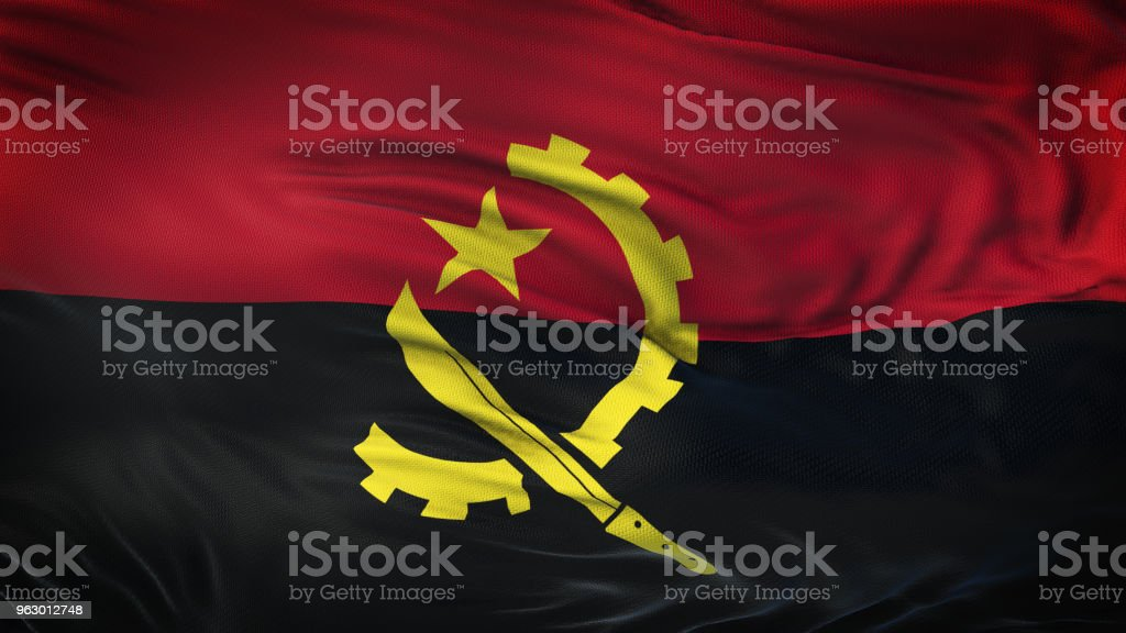ANGOLA Realistic Waving Flag Background stock photo